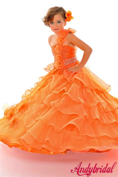 Orange Girlset orange flower dresses cheap 2014 2015 fashion