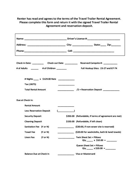 travel trailer rental agreement free download