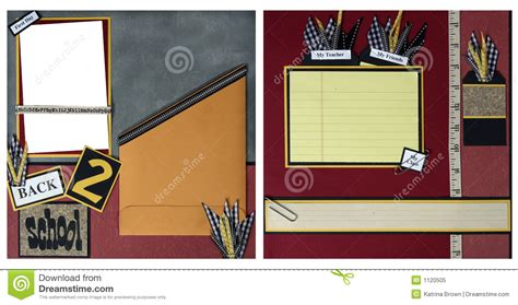 back to school scrapbook frame template stock illustration