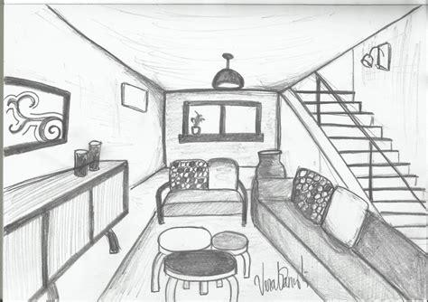 sketsa desain eksterior sketsa interior ruang tamu satu titik hilang perspektif