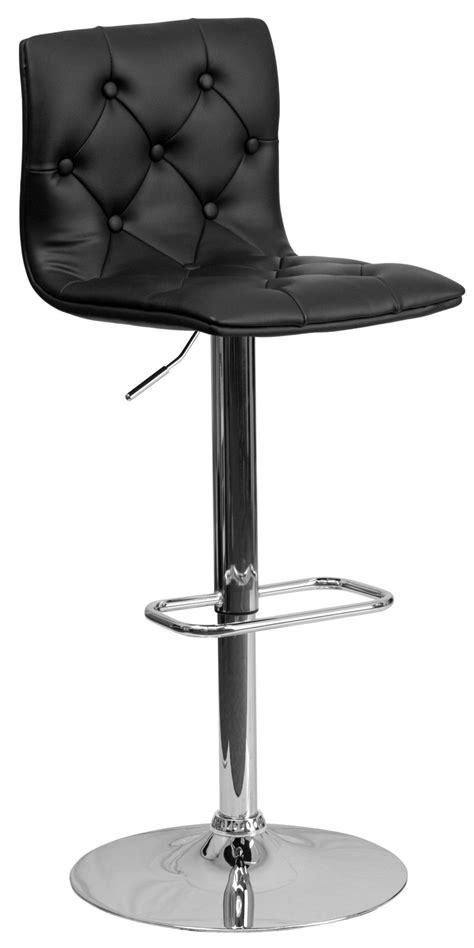 Black Tufted Bar Stool tufted black adjustable height bar stool from renegade