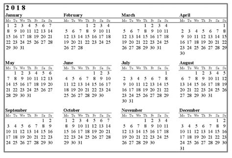 2018 Yearly Monthly Calendar Template Excel Word 2018 Yearly Calendar Template Excel