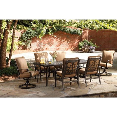 Home Depot Outdoor Patio Dining Sets Thomasville Messina 7 Patio Dining Set With Cocoa Cushions Fg Mn7pcds Cc The Home Depot