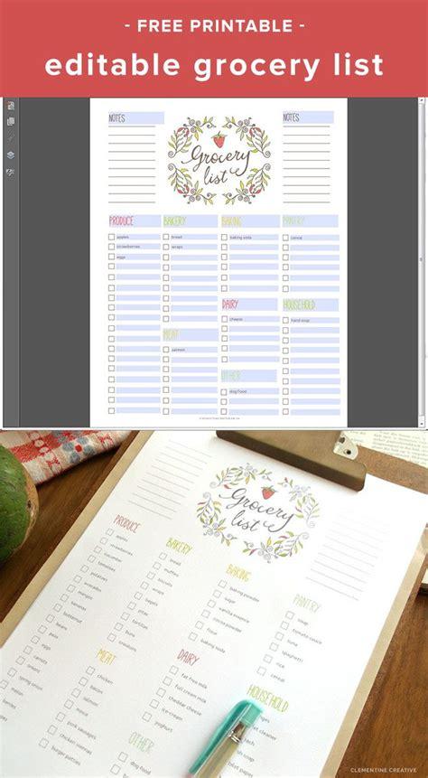 printable editable shopping list free editable grocery list printable pdf texts