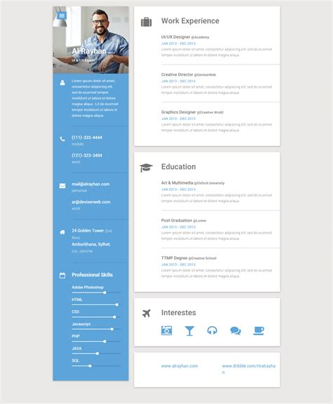 25 best resume and cv website template 2017 responsive