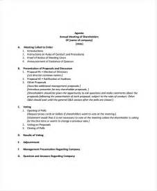 annual meeting agenda template 8 free word pdf