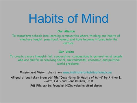 Habits Of Mind Quotes Like Success Habits Of Mind