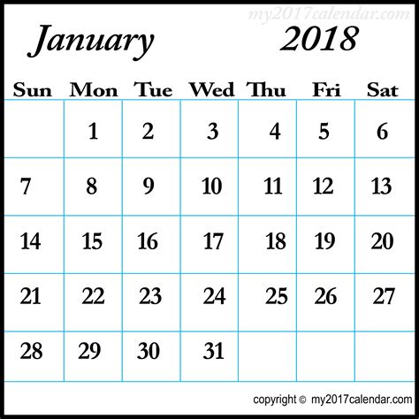 january calendar template january 2018 calendar template printable monthly calendars