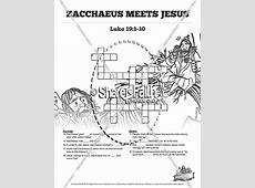 Luke 19 Story of Zacchaeus Sunday School Crossword Puzzles ... Zacchaeus Bible Story