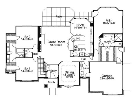 Large 1 Story House Plans by Large Ranch House One Story Ranch House Floor Plans One