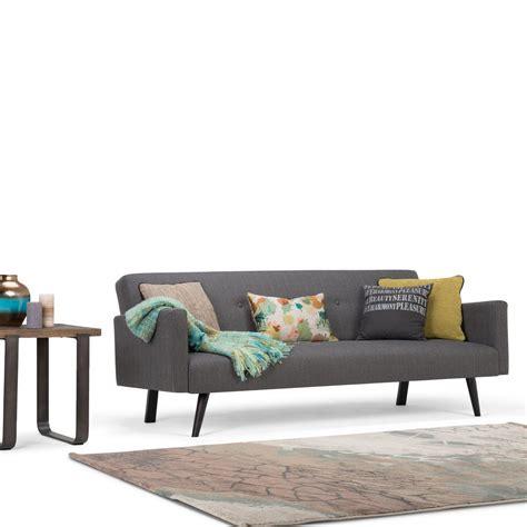 morgan sofa bed simpli home morgan 1 piece graphite grey linen look fabric