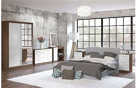 walnut and white gloss bedroom furniture lynx white high gloss walnut bedroom furniture range