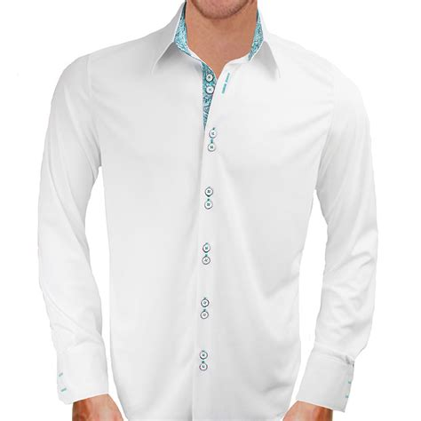 design dress shirts white with teal paisley dress shirts