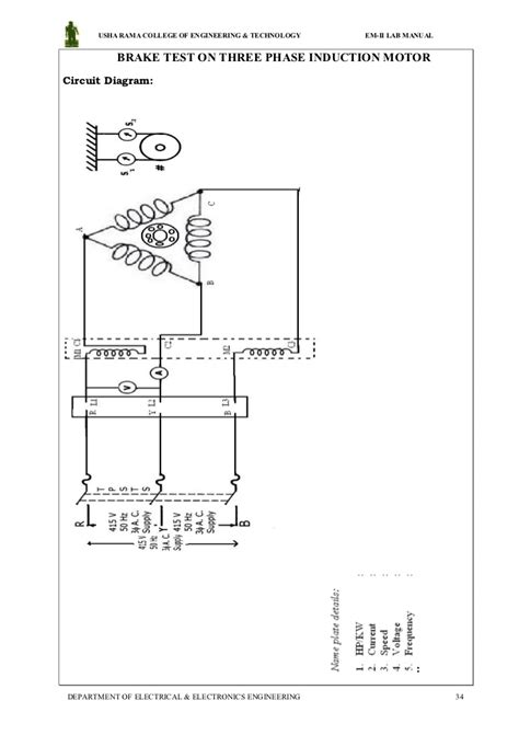 load test on three phase induction motor circuit diagram