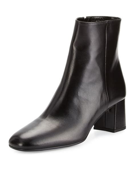 prada leather square toe 55mm ankle boot black nero