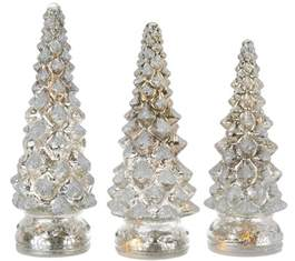 glass lighted tree set of 3 lit twinkling mercury glass trees by valerie