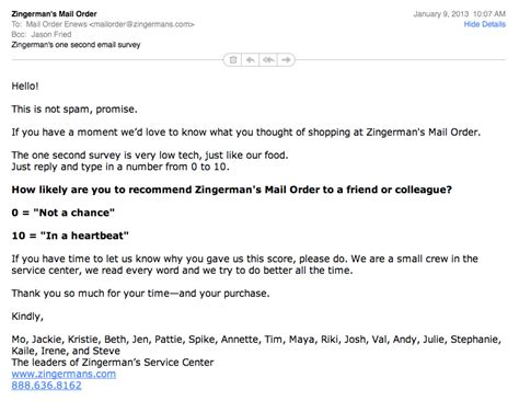 Zingerman's simple email survey ? Signal v. Noise