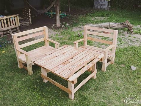 Diy Pallet Outdoor Furniture Set 101 Pallets Wooden Pallet Outdoor Furniture