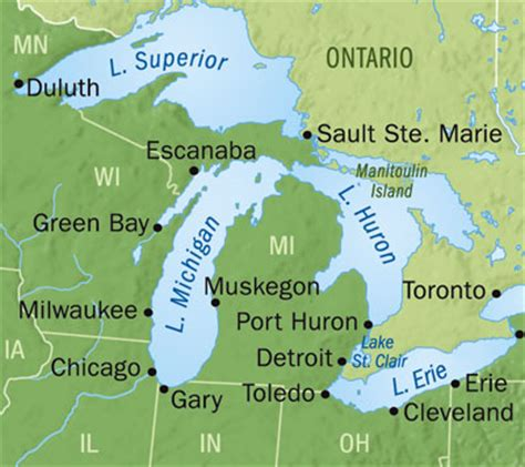 the great lakes world map small world maps great lakes detail