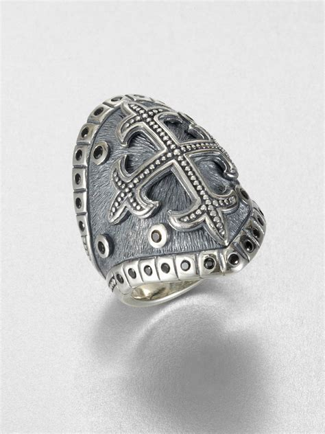 sterling silver cross ring in metallic for