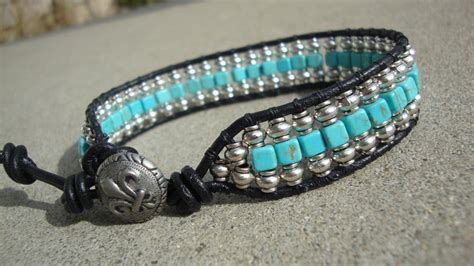 Handmade Bracelets For - s silver and turquoise beaded wrap black leather