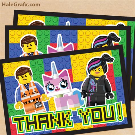 printable lego birthday thank you cards free printable lego movie thank you card