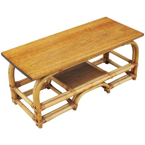 two tier rattan coffee table with mahogany top for sale at