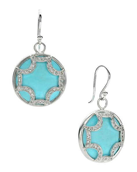 Elizabeth Showers Jewelry by Elizabeth Showers Turquoise Maltese Hoop Earrings In Blue