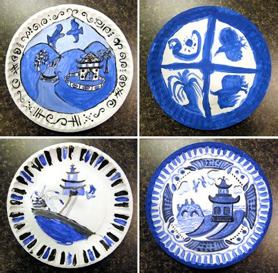 willow pattern lesson ideas my adventures in positive space blue willow plates in tempera