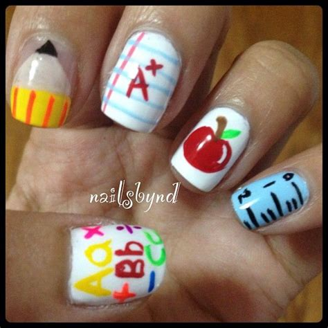 Back To School Acrylic Nail Designs