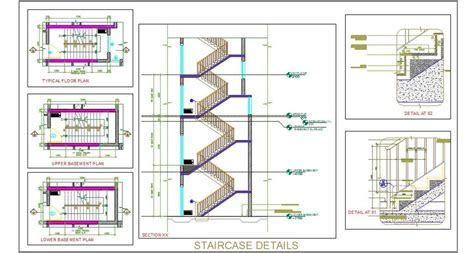 layout working dwg staircase design working drawing plan n design