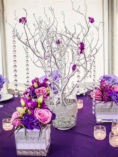 Quinceanera Decorations Pink And Purple Floral Pink And Purple Centerpieces