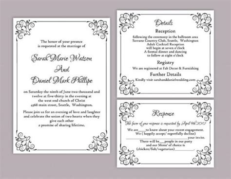 Pages Wedding Invitation Template by Diy Wedding Invitation Template Set Editable Word File