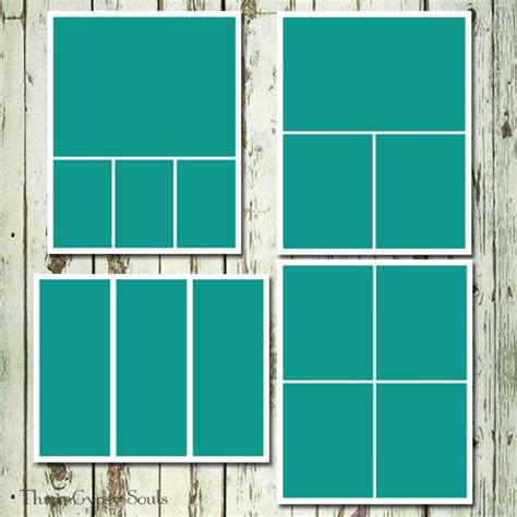 8x10 Storyboard Collage Templates Layered Psd Group Of 4 8x10 Photoshop Template