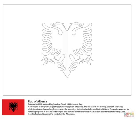 Albanian Flag Outline by Flag Of Albania Coloring Page Free Printable Coloring Pages