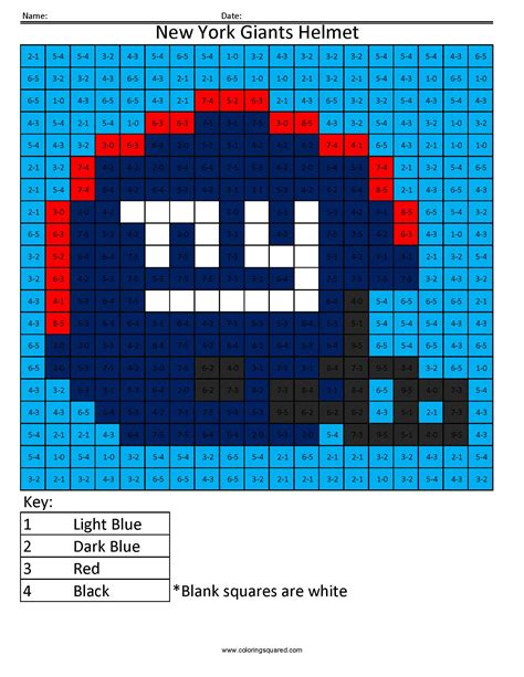 giants colors 7as new york giants helmet nfl nfc math coloring pages