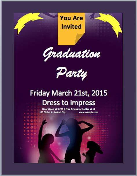 graduation party invitation flyer template microsoft