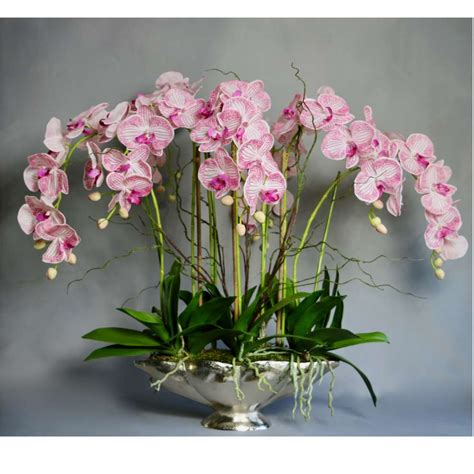 Silver Vase Orchids by Pink Stripe Orchids In Silver Vase Artificial Orchids