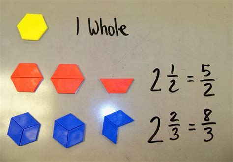 pattern blocks mixed numbers the 4th grade may niacs mixed numbers and improper fractions