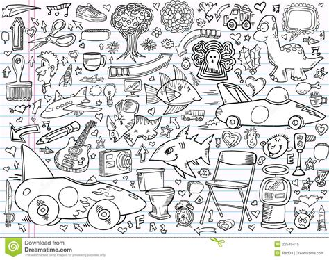 doodle draw free notebook doodle elements vector set royalty free stock