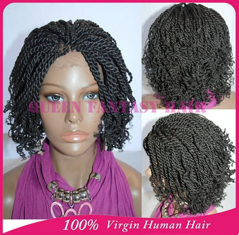 braided wigs for african women full hand tied short kinky twist braided lace front wigs
