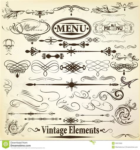 calligraphic vintage design elements vector set collection of vintage vector calligraphic design elements