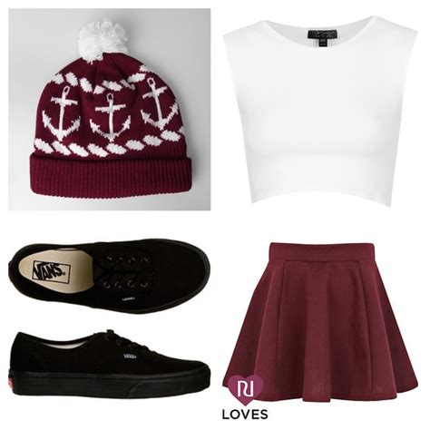 red skater skirt white crop top black vans   red beanie