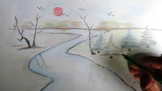 easy colored pencil drawings how to draw a scenery color pencil drawing