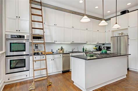 library ladder in kitchen lincoln park home with library ladder in kitchen for sale