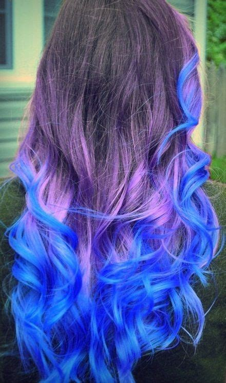 pictures of blue hair braided into brown hair purple and blue pastel dip dyed ombre hair
