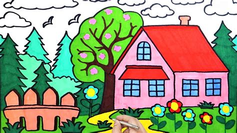 draw house garden sky flowers easy coloring pages