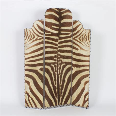 Zebra Room Divider Vintage Deco 3 Panel Burchell Zebra Hide Screen