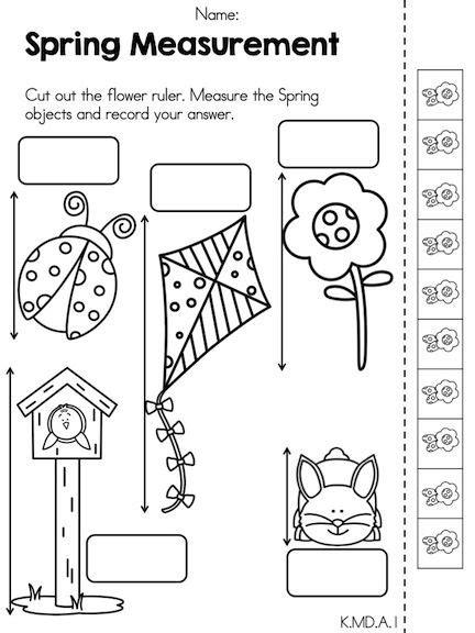 kindergarten activities measurement spring measurement worksheet maths activities