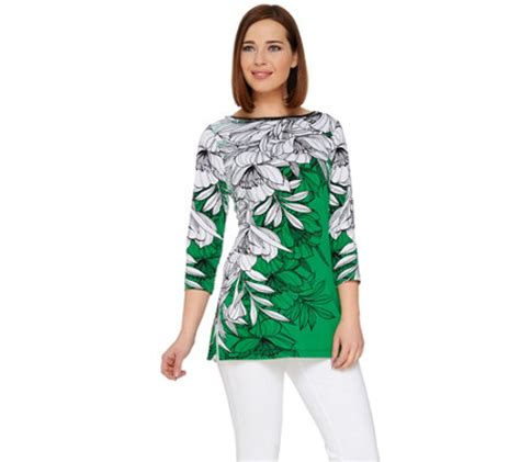 susan graver liquid knit susan graver printed liquid knit 3 4 sleeve tunic